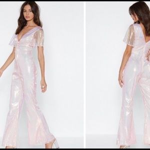 Pink Nasty Gal Disco Jumpsuit